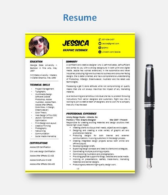 Resume Template with Photo Professional Resume Design Teacher - reference format resume