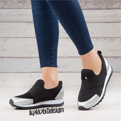 Lifan Siyah Bagciksiz Spor Ayakkabi Siyah Spor Ayakkabi Ayakkabilar Bayan Ayakkabi