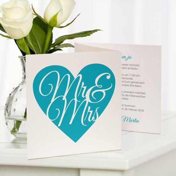#Hochzeitseinladung Mr & Mrs türkis: https://www.meine-hochzeitsdeko.de/hochzeitseinladung-mr-und-mrs-tuerkis