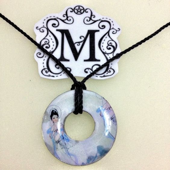 Resin Coated Washer Necklace Guanyin by MazerCreations on Etsy, $10.00