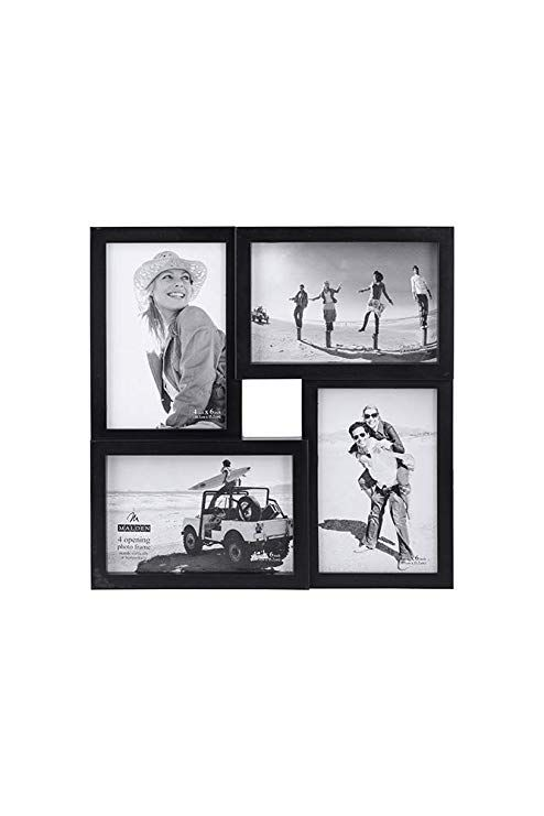 Malden 4x6 4 Opening Collage Matted Picture Frame Displays Four 4x6 Pictures Black Collage Picture Frames Picture Frame Display Painted Picture Frames 4 opening picture frame 4x6