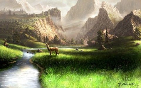 Artwork Mountain Hills Grass Fresh River Wild Nature Dears Gift Cards For Christmas Beautiful Landscape Paintings Scenery Wallpaper Scenery Pictures