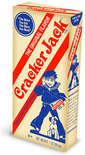 """""""Cracker Jacks"""". The Cracker Jack toys used to be so cute. You found them in the box first,before eating the candied popcorn. Null."""