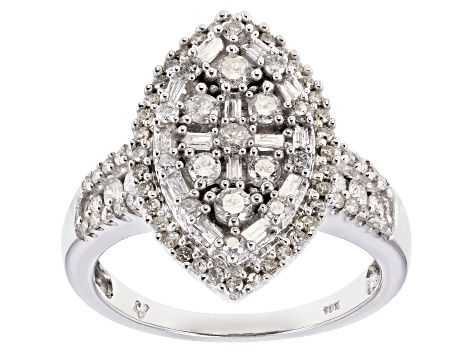 White Diamond 10k White Gold Ring 1 00ctw Docn555 Gold Rings White Gold White Gold Rings