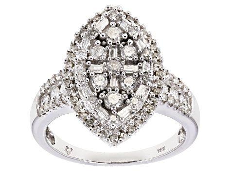 White Diamond 10k White Gold Ring 1 00ctw Docn555 Gold Rings White Gold White Gold Rings