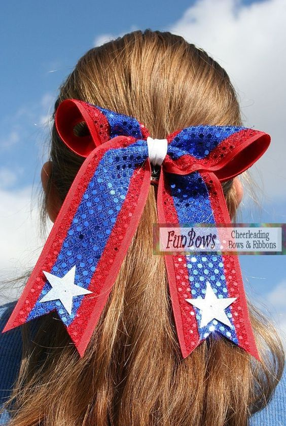Custom Sequin with Stars Cheerleading Hairbow CHEER by Funbows. $10.00, via Etsy.