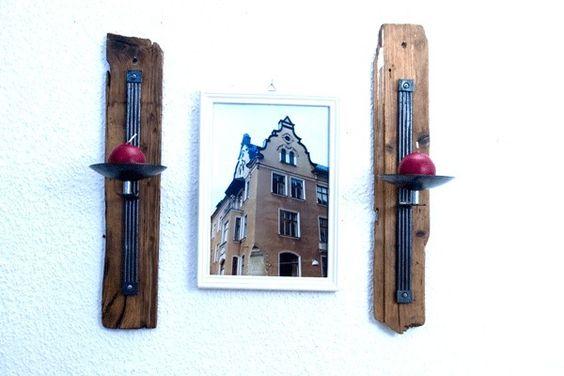 Wandhalter  Kerzenhalter Treibholz und Metall  von SchlueterKunstundDesign - Wohnzubehör, Unikate, Treibholzobjekte, Modeschmuck aus Treibholz auf DaWanda.com