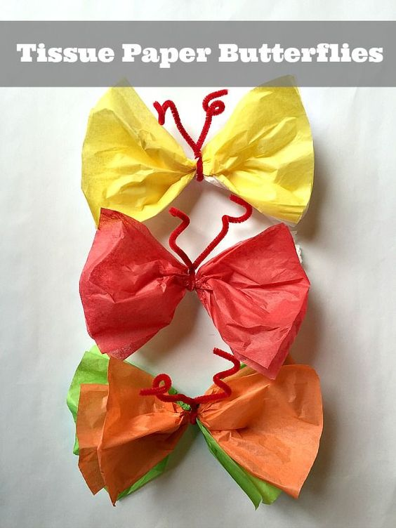 Easy spring craft make paper butterflies tissue paper for Paper art butterfly