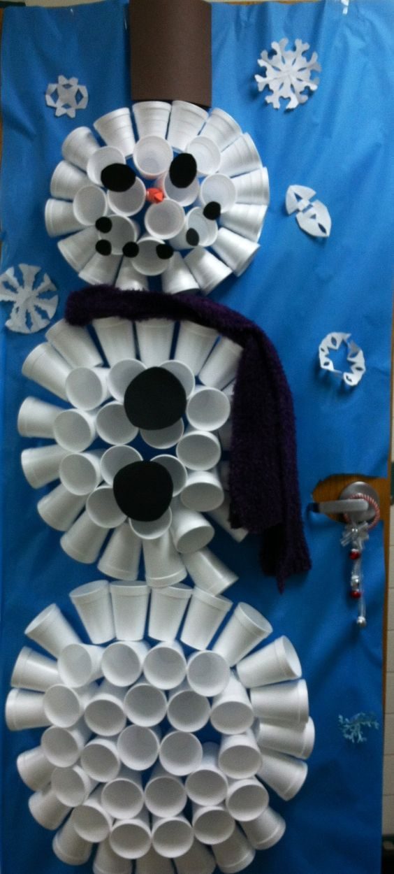 styrofoam cup snowman door instructions