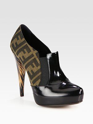 Fendi Monogram Canvas and Patent Leather Platform Ankle Boots  like it!