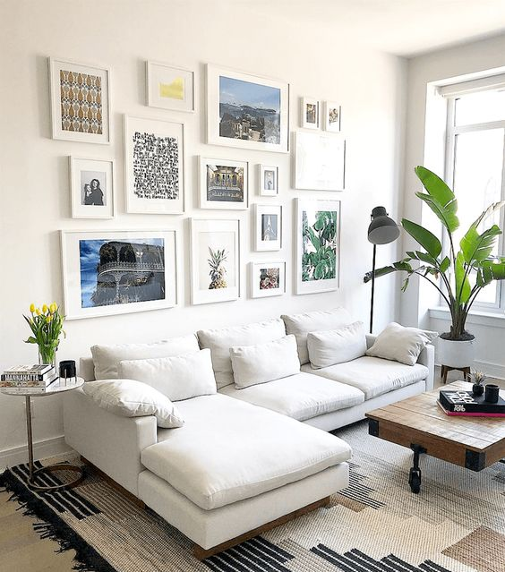 Ashley Chapman on instagram beautiful contemporary art wall and sectional