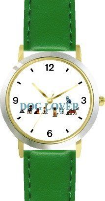 Dog Lover Collage Dog & Cat Cartoon or Comic - JP Animal - WATCHBUDDY® DELUXE TWO-TONE THEME WATCH - Arabic Numbers - Green Leather Strap-Size-Children's Size-Small ( Boy's Size & Girl's Size ) WatchBuddy. $49.95