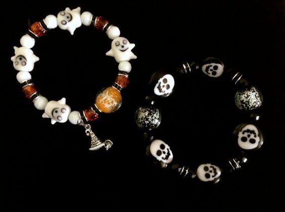 GLOWING GHOULS or BONES Bracelet  Halloween by WhimsicalMystical