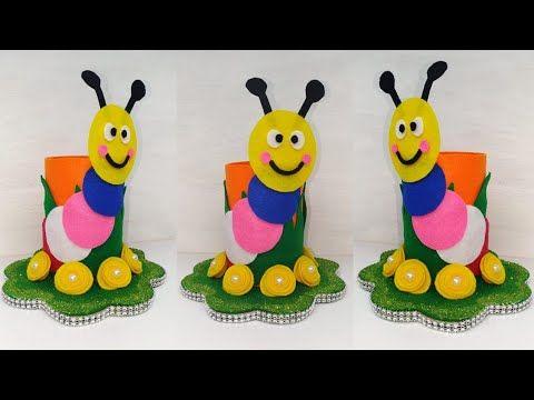 Diy Tempat Pensil Model Ulat Lucu Bottle Craft Ideas Crafts