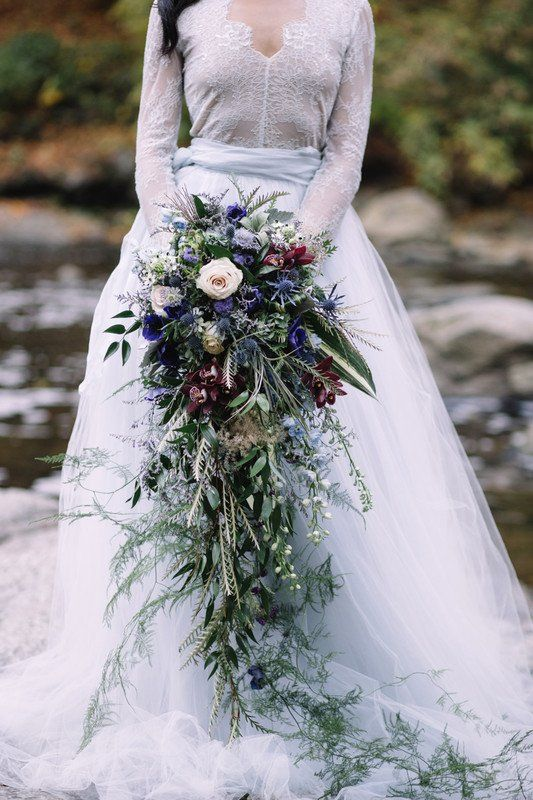 Cascading Wedding Bouquet With Overflowing Greenery Hope Helmuth