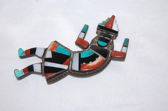 "Vintage Zuni Silver Turquoise Rainbow man Rainbowman pin  304.00 brooch coral 4"" leo poblano?"