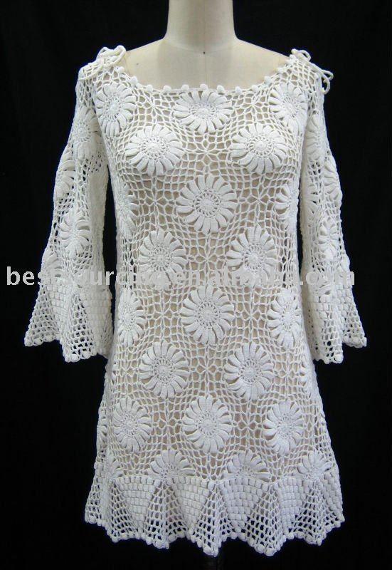 Verão mulheres manga longa ampla pescoço túnica de algodão moda feminina flor crochet da mão de praia vestido camisola bs-104-Vestidos casuais-ID do produto:384047799-portuguese.alibaba.com