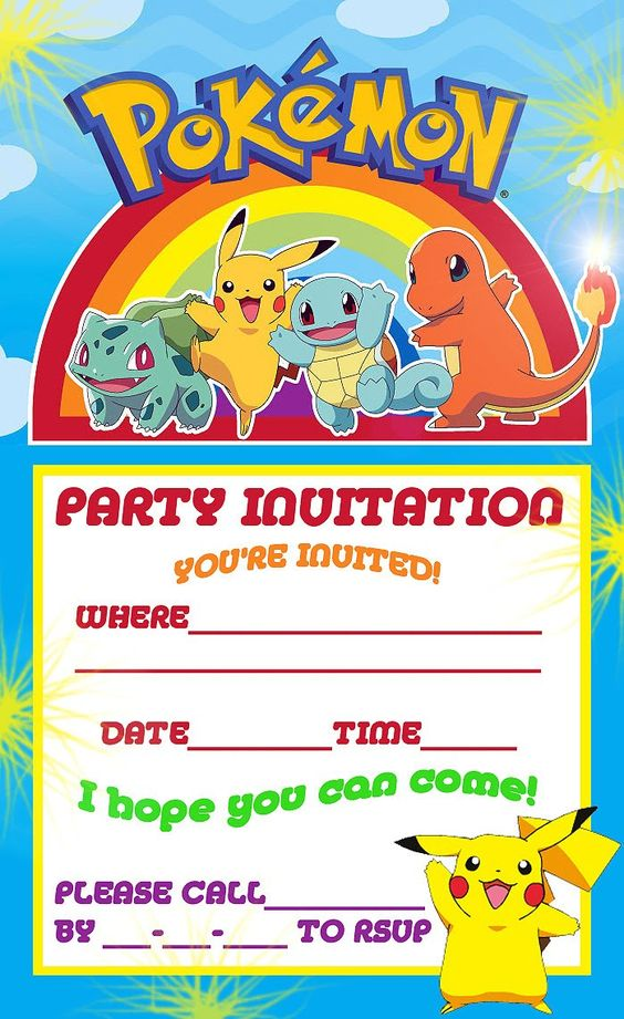Free Printable Pokemon Birthday Party Invitations | Party Ideas ...