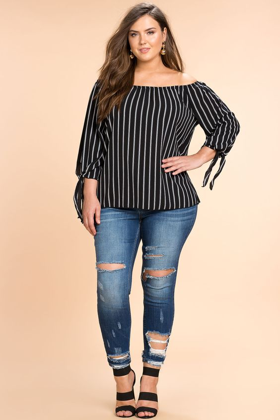 Women's Plus Size Blouses | My Side Stripe Off Shoulder Top | A'GACI