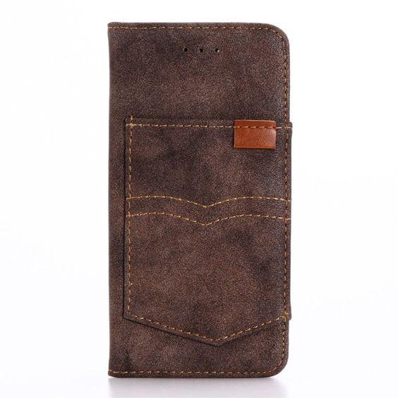Shop4 - iPhone 7 Hoesje - Book Case Vintage Leer Donker Bruin | Shop4Hoesjes
