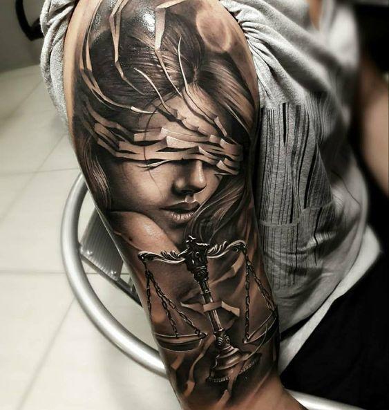 60 Best Libra Tattoo Ideas Hike N Dip Tattoos For Guys Badass Justice Tattoo Libra Tattoo