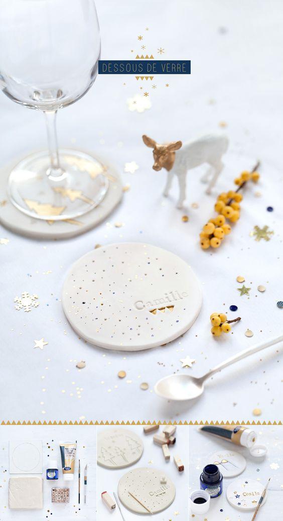 DIY dessous de verre en céramique. Petite touche scandinave pour votre décoration de noël !