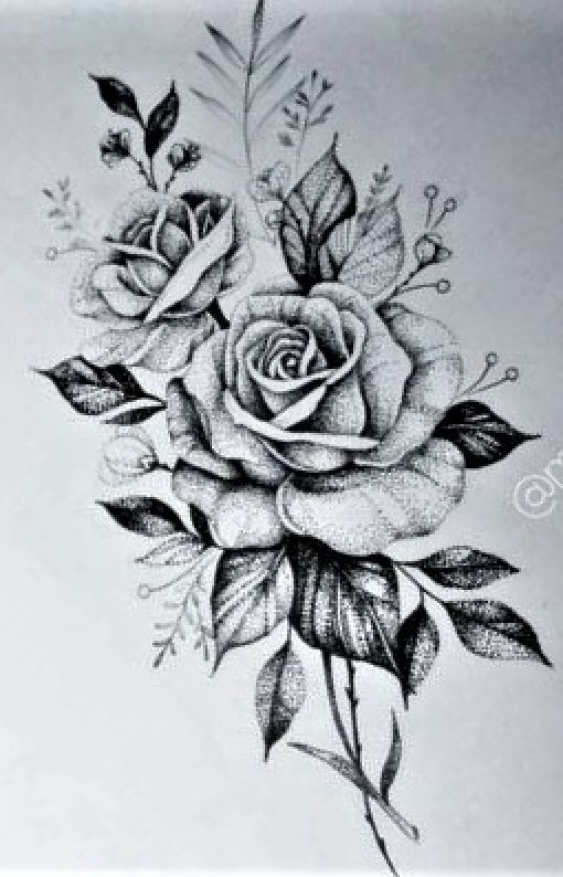 Roses And Leaves Roses Drawing Rose Drawing Tattoo Rose Tattoo