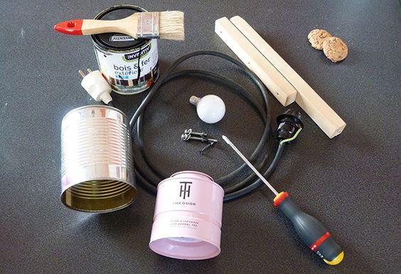 Diy lampe industrielle 2 bricolage pinterest bricolage - Lampe avec boite de conserve ...
