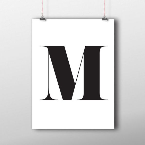 Initial Home Decor: M Letter Printable Home Decor, Monogram Initial Print