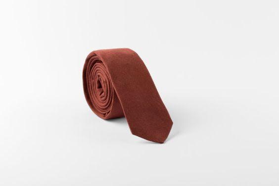 Skinny tie, Dark cinnamon brown tie, Linen, Wedding tie, Grooms necktie, Skinny necktie, Standard necktie, Bow tie, Pocket square, Linen tie