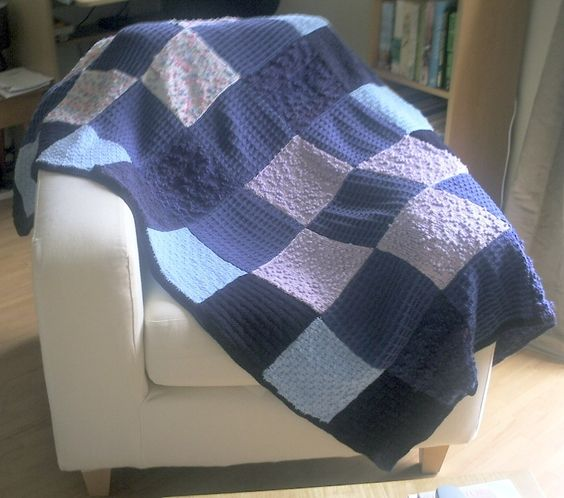 Knitting Patterns Blankets Patchwork : Lap blanket, knitted patchwork squares Lap blanket, Squares and Etsy