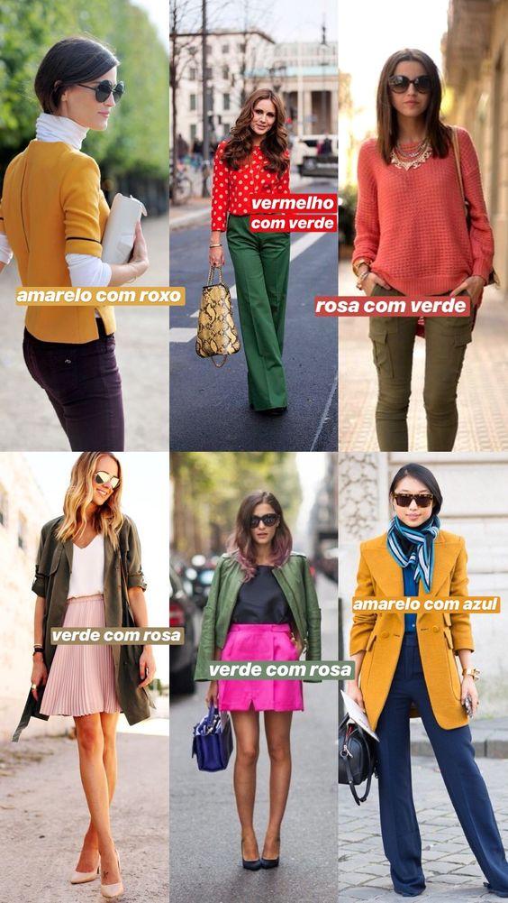 ideias para fazer combinações com cores complementares, contrastantes, que ficam opostas no círculo cromático: amarelo com roxo, amarelo com azul, verde com rosa!
