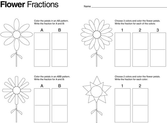 math worksheet : flower fractions also other great ideas on this blog  math  : Introduction To Fractions Worksheets