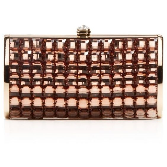 La Regale Bejeweled Tile Evening Clutch - Compare at $90 ($26) ❤ liked on Polyvore featuring bags, handbags, clutches, light gold, special occasion clutches, la regale handbags, evening clutches, brown handbags and holiday handbags