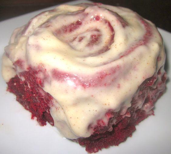 Red Hot Velvet Cinnamon Rolls with Cinnamon-Cream Cheese Frosting..