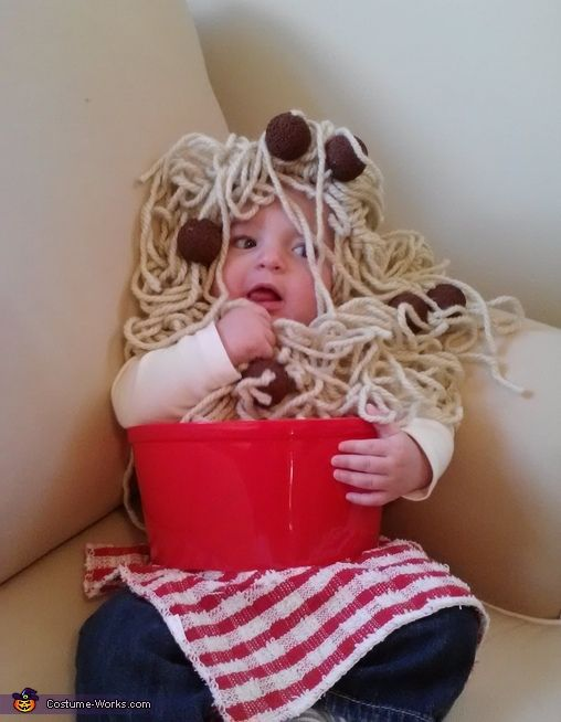 Janelle: My 4 month old son made his Halloween debut wearing a homemade spaghetti and meatballs costume. The total cost was under $10.00. I managed to get the bowl, foam balls,...: