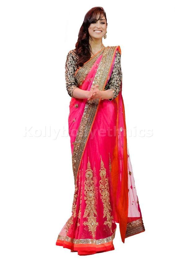 Bollywood Actress Yami Gautam Net Saree in Pink color