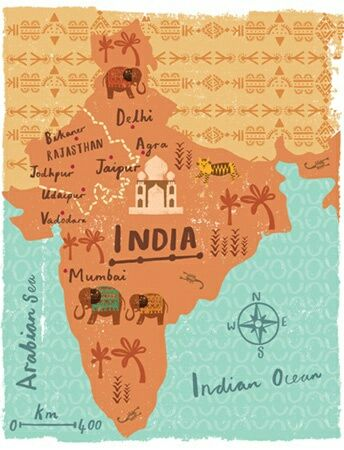 #Handdrawn Map of India. Inspiration for my Skillshare Map Design class.