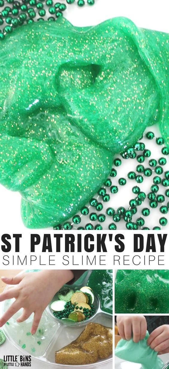 I've read that everyone's Irish on St. Patrick's Day, so we show show our lucky side with awesome homemade slime. Our last name is Irish, so of course we had to make a St Patricks Day slime recipe this year. Our St Patricks Day slime is a fun activity for science and sensory play all in one!