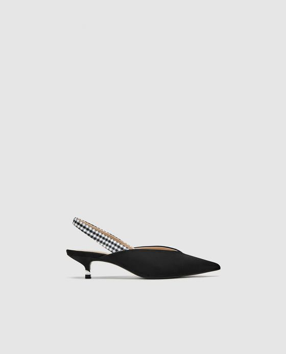 KITTEN HEEL SLINGBACK SHOES WITH