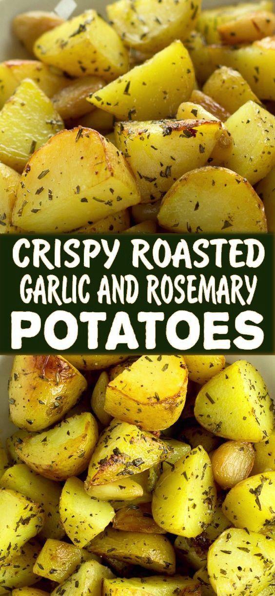 Crispy Roasted Garlic And Rosemary Potatoes Recipe In 2020 Rosemary Potatoes Golden Potato Recipes Garlic Roasted Potatoes