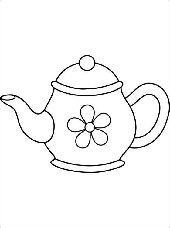 Afbeelding Theepot Kleurplaat чайник кинусайга Pinterest