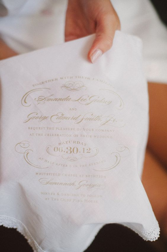 handkerchief invites by http://www.lucky-luxe.com/handkerchief.html  Photography by dixiepixelphoto.com
