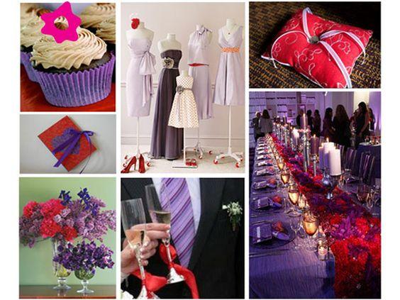 Combinación de boda de color morado con rojo