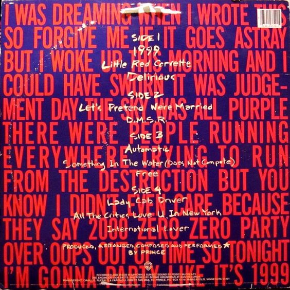 Prince 1999 Vinyl Lp Album At Discogs Lp Vinyl Vinyl Records Album Covers