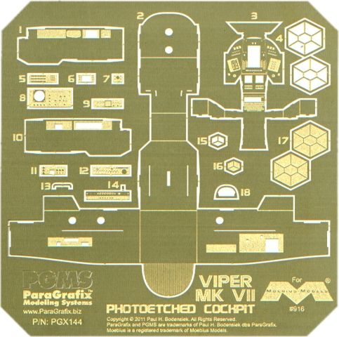 FabGearUSA - Battlestar Galactica Viper Mk 7 Photoetched Cockpit, $29.95 (http://www.fabgearusa.com/battlestar-galactica-viper-mk-7-photoetched-cockpit/)