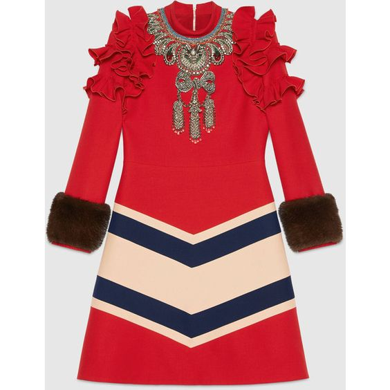 Gucci Embroidered Wool Silk Dress (£3,680) ❤ liked on Polyvore featuring dresses, new dresses, ready to wear, women, embroidered dresses, embroidery dress, embellished dress, a line dresses and red dress