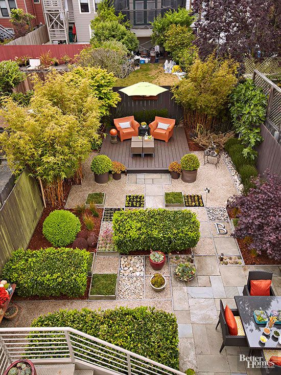 Landscaping backyards and yards on pinterest for Small square garden ideas