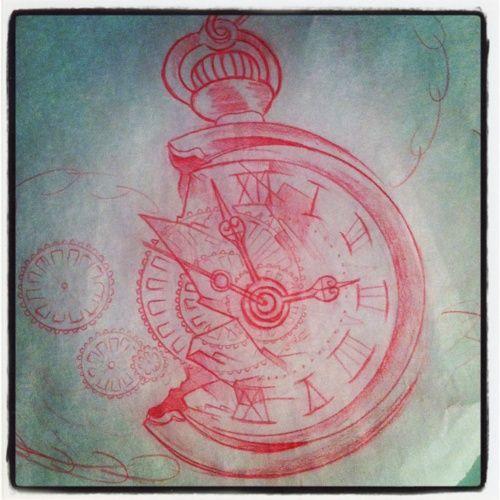 Broken pocket watch drawing fragments of time tattoo for Kati vaughn tattoo