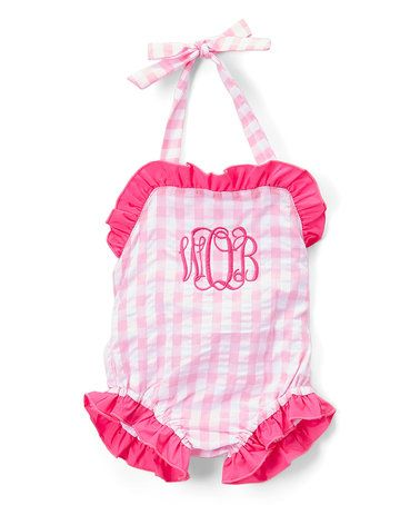 Look what I found on #zulily! Pink Gingham Monogram One-Piece Sunsuit - Infant, Toddler & Girls #zulilyfinds: